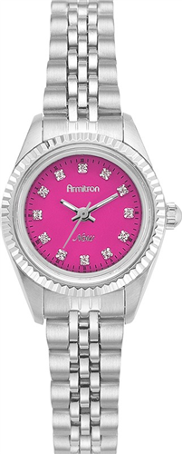 ARMITRON WOMENS SWAROVSKI PINK - SILVER WATCH, 24MM