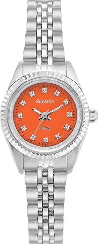ARMITRON WOMENS SWAROVSKI ORANGE - SILVER WATCH, 24MM