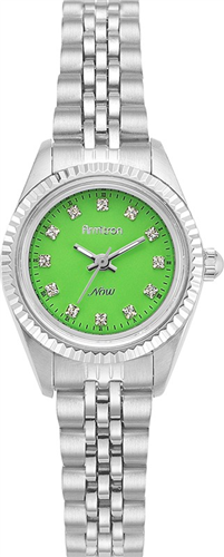 ARMITRON WOMENS SWAROVSKI GREEN-SILVER WATCH, 24MM