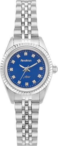 ARMITRON WOMENS SWAROVSKI BLUE DIAL- SILVER WATCH, 24MM