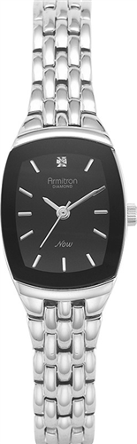 ARMITRON WOMENS DIAMOND BLACK-SILVER WATCH ,21MM