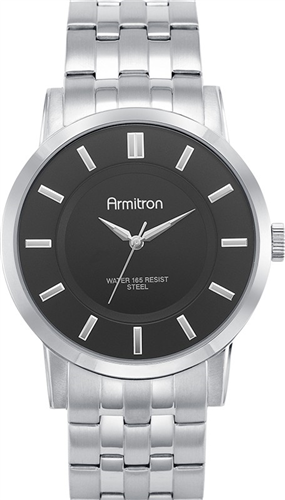 ARMITRON MENS SILVER- BLACK WATCH, 42MM