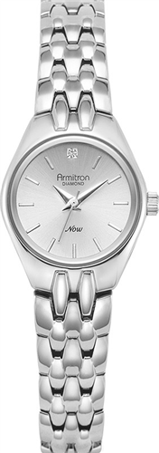 ARMITRON WOMENS DIAMOND SILVER WATCH, 22MM