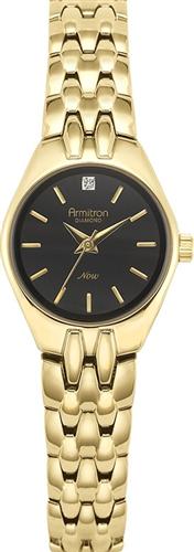 ARMITRON WOMENS DIAMOND BLACK GOLD WATCH, 22MM