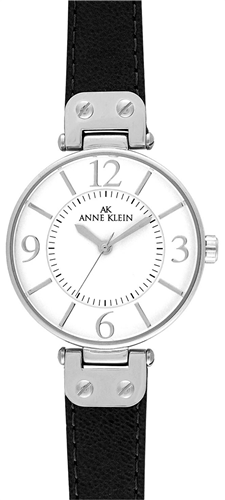 ANNE KLEIN WOMENSS BLACK LEATHER STRAP WATCH 34MM