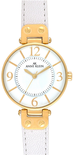 ANNE KLEIN WATCH, WOMENS WHITE LEATHER STRAP