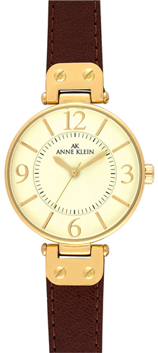 ANNE KLEIN WATCH, WOMENS BROWN LEATHER STRAP 34MM