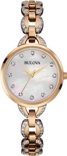 BULOVA FACETS CRYSTAL ROSE WOMENS WATCH 28MM