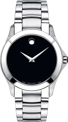 MOVADO MASINO BLACK DIAL MENS WATCH 38MM