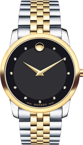 MOVADO MUSEUM DIAMOND BLACK MENS WATCH 40MM