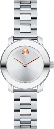 MOVADO BOLD SILVER LADIES WATCH 25MM