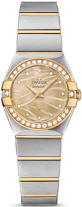 OMEGA CONSTELLATION CHAMPAGNE DIAMOND LADIES WATCH 24MM
