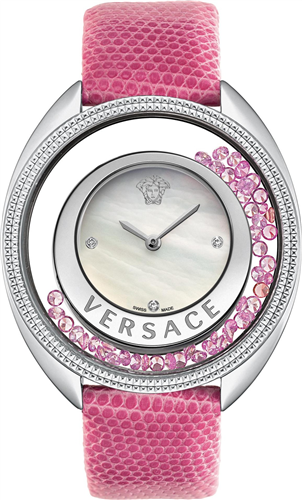 VERSACE DESTINY SPIRIT FLOATING MICRO SPHERES PINK LEATHER WATCH 39MM