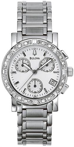 BULOVA DIAMOND CHRONOGRAPH LADIES WATCH 33MM