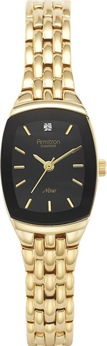 ARMITRON WOMENS DIAMOND BLACK- GOLD WATCH, 21MM