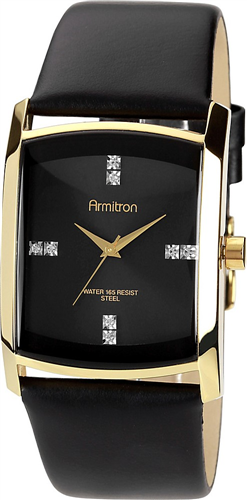 ARMITRON MENS SWAROVSKI CRYSTAL GOLD-TONE WATCH 33MM