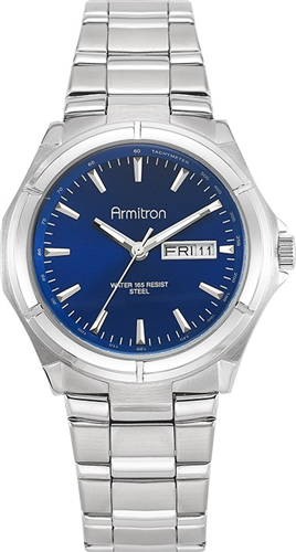ARMITRON MENS STAINLESS AND DIAL DRESS WATCH 39MM