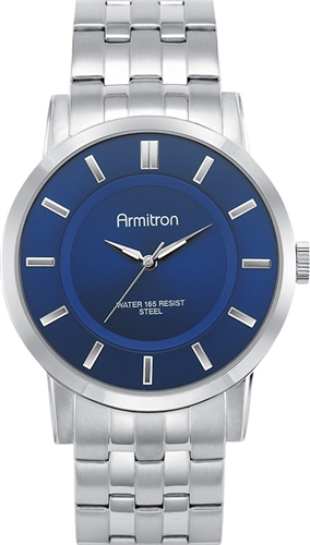 ARMITRON MENS SILVER- BLUE WATCH, 42MM