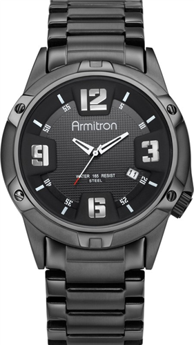 ARMITRON MENS BLACK PLATED STEEL WATCH 42MM