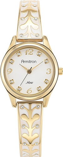 ARMITRON WOMENS SWAROVSKI GOLD- WHITE WATCH, 26MM