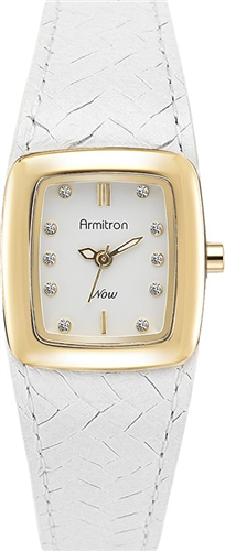 ARMITRON WOMENS GOLD- WHITE WOVEN, 23MM