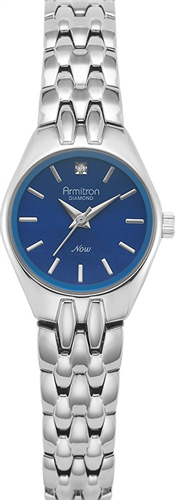 ARMITRON WOMENS DIAMOND BLUE- SILVER WATCH, 22MM