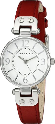 ANNE KLEIN WOMENS RED LEATHER STRAP WATCH 26MM