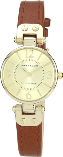 ANNE KLEIN WOMENS GOLD-TONE CHAMPAGNE BROWN WATCH 26MM