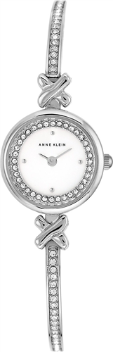 ANNE KLEIN WOMENS CRYSTAL ACCENT SILVER-TONE WATCH 20MM