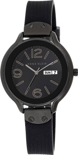 ANNE KLEIN WOMENS BLACK SILICONE STRAP WATCH 38MM