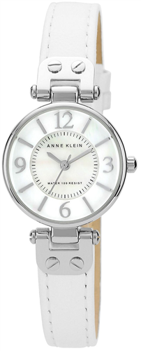 ANNE KLEIN WATCH, WOMENS WHITE LEATHER STRAP 26MM