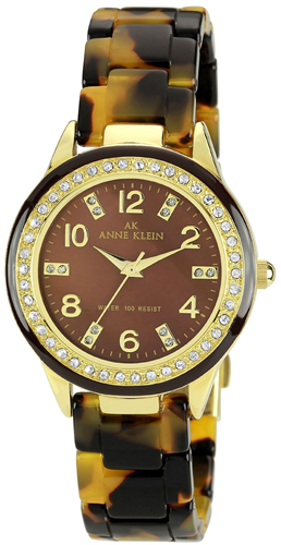 ANNE KLEIN WATCH, WOMENS TORTOISE PLASTIC BRACELET 35MM