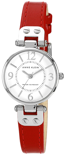ANNE KLEIN WATCH, WOMENS RED LEATHER STRAP 26MM