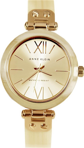 ANNE KLEIN WATCH, WOMENS HORN PLASTIC BANGLE BRACELET